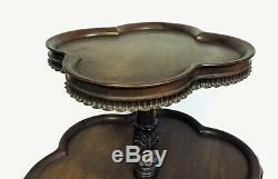 Antique Mahogany 2 Tier Pie Crust Dumb Waiter Buffet Table Clawfoot Ball 33 X 25