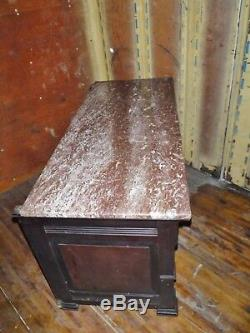 Antique Marble Top Carved Wood sideboard server buffet furniture