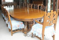 Antique Matching Oak Dining Set Buffet Table Chairs China Server the Best