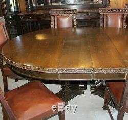 Antique Oak Dining Room Set RJ Horner Table, Chairs, Buffet, China, Server