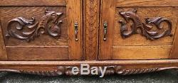 Antique Solid Oak Server Buffet Sideboard Griffon Carvings Key 4 Drawers 2 Doors