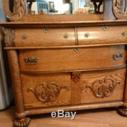 Antique Victorian Oak Carved Mirror Sideboard Server Buffet