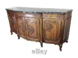 Appealing French Walnut Server, Sideboard, Buffet, Marble Top, 1920's