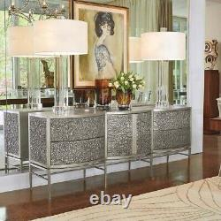Art Deco Mid Century Modern Style Silver Finished Server Sideboard Buffet New