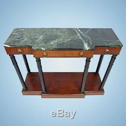Baker Neoclassical Mahogany Marble Top Console Table Server Credenza Buffet End