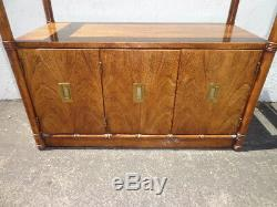 Bamboo Table Buffet Vintage Bar Tea Cart Server Console Tv Stand Cabinet Storage