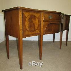 Beacon Hill Bow Front Sideboard, Server, Buffet, Inlaid Flame Mahogany