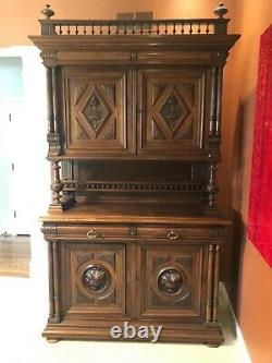 Beautiful Jacobean Antique Wood Carved Server Buffet/Parlor Cabinet from Europe
