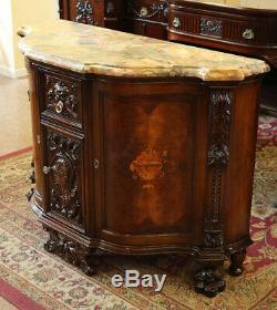 Best Carved Walnut Inlaid Satinwood Marble Top Buffet Sideboard Server MINT 1920