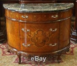 Best French Black Portoro Marble Louis XV Inlaid Walnut Commode Server Buffet