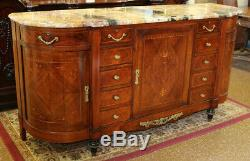 Best French Marble Top Inlaid Walnut & Satinwood Grand Sideboard Buffet Server
