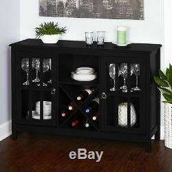 Black Buffet Console Storage Cabinet Server Wooden Glass Doors Curio Wine Dining