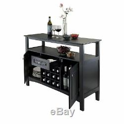 Black Wooden Buffet Storage Cabinet China Display Wine Rack Dining Server Bar