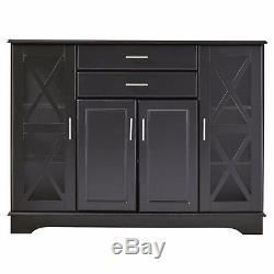 Black Wooden Storage Cabinet Dining China Hutch Sideboard Cupboard Buffet Server