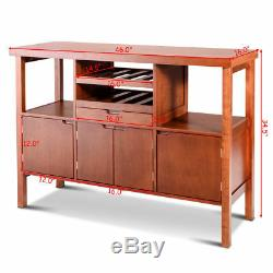Brown Wooden Buffet Server Table Storage Cabinet Sideboard Dining WithWine Rack