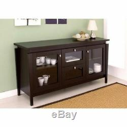Brown Wooden Storage Cabinet Dining China Hutch Sideboard Cupboard Buffet Server