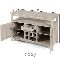 Buffet Server Sideboard Wine Cabinet Console Table Dining Concise Storage Grey