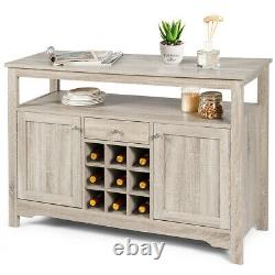 Buffet Server Sideboard Wine Cabinet Console Table Dining Room withStorage Grey