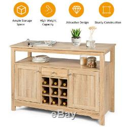 Buffet Server Sideboard Wine Cabinet Console Table Dining Room withStorage Natural