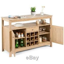 Buffet Server Sideboard Wine Cabinet Console Table withAdjustable Shelf Natural