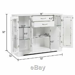 Buffet Storage Cabinet Console Table Server WithGlass Door Drawers Kitchen
