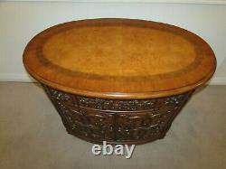 Carved Mahogany Oval Server, Buffet, Sideboard, Liquor Cabinet, Credenza