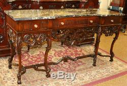Carved Walnut Marble Top French Louis XV Sideboard Server Buffet C1890-1910