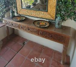 Carved solid teak console table or buffet server