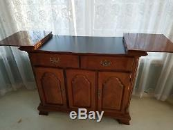Cherry wood double pedestal dining table, 8 chairs, buffet server, china cabinet