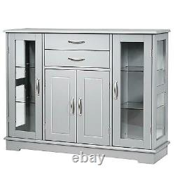 Costway Sideboard Buffet Server Storage Cabinet With 2 Drawers 3 Cabinets Cupboard