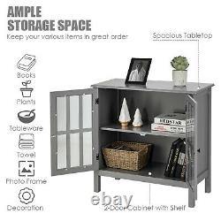 Costway Storage Buffet Cabinet Glass Door Sideboard Console Table Server Gray
