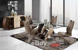 D4126DT Oak & Walnut Glass Table & Chairs Dining Set