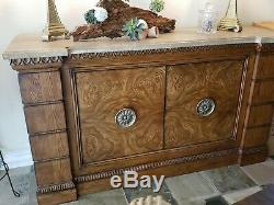 DREXEL HERITAGE Insignia Burled Wood Buffet Server with Stone Top