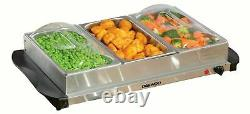 Daewoo Electric Buffet Server with 3 x 1.5L Serving Dishes and Plate Warmer