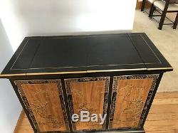 Drexel Heritage Chinoiserie Black Lacquer Oriental Buffet Server Pick Up Only