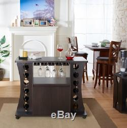 Dry Bar Liquor Cabinet 12 Bottle Holder Wine Rack Buffet Server Kitchen Island