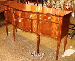 Early 20th Century Flame Mahogany Inlaid Sheraton Style Sideboard Server Buffet