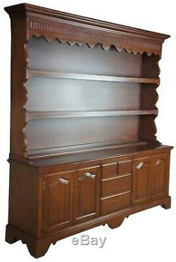 Early American Mahogany Serpentine China Cupboard Server Hutch Buffet Colonial