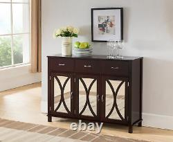 Espresso Wood Sideboard Buffet Server Console Table With Storage Drawers & Mi