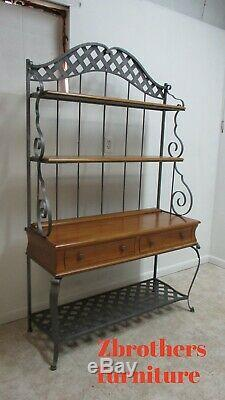 Ethan Allen Country French bakers Rack Sideboard Buffet Server Console Hutch