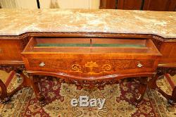 Exceptional Inlaid French Marble Top Sideboard Server Buffet Circa 1920's