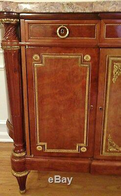 FRENCH Jansen SIGNED BRONZE MOUNTED MARBLE TOP SIDEBOARD Server BUFFET