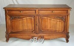 FRENCH LOUIS XV STYLE BUFFET SERVER CHEST WALNUT Low PROVINCIAL CABINET