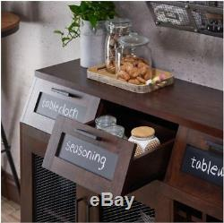 Farmhouse Buffet Mini Bar Table Sideboard Server Cabinet Dining Room Storage New