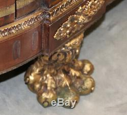 Flame Mahogany & Bronze Benneman Style French Louis XV Sideboard Server Buffet
