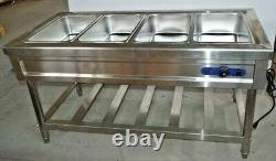 Food Warmer 4Well Stainless Steel Electric Steam Table Buffet Server for Kitchen