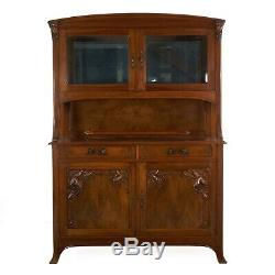 French Antique Art Nouveau Carved Walnut Server Buffet Cabinet, 20th century