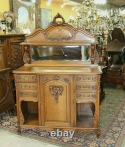 French Antique Louis XV Tiger Oak Sideboard / Server / Buffet c 1880