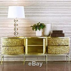 French Art Deco Mid Century Modern Style Gold Brass Server Sideboard Buffet New