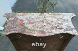 French Early 1900s Marble Top Commode Server Buffet Bathroom Vanity 1967